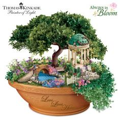 Handcrafted Illuminated Sculpted Garden Inspired By Thomas Kinkade Artwork With