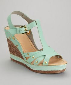 Take a look at this Sage Green Carissa-02 Wedge Sandal by Bumper on #zulily today!