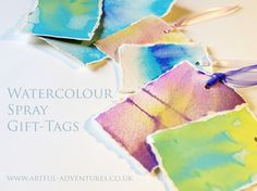 Watercolour spray can be used to make pretty colors. Demonstrate negative space using leaves, string, hand-made stencils, etc.