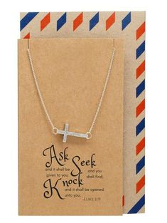 "Eva Sideways Cross Necklace with Christian Birthday Card with quote: ""ASK and it shall be given to you; SEEK and you shall find; KNOCK and it shall be opened unto you. ~ Luke 11:9"""