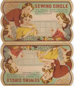 Sewing Circle needle book with period art and many other period notions