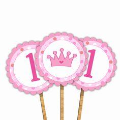 Personalized Pink Princess Birthday Cupcake Topper - Pink Hot Pink Polka Dots Circle Tags Girl