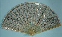 1900 BELLINI, London Spangled Fan on Gauze with Metal Pique Embellished Horn Sticks
