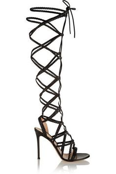 Shop for Braided leather sandals by Gianvito Rossi at ShopStyle. Black High Heel Sandals, Lace Up Gladiator Sandals, Lace Up High Heels, Black Leather Sandals, Heeled Sandals, Shoes Sandals, Short Heels, Leather Shoes, Black Shoes