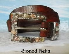 Crazy Lace Gemstone Silver Belt Buckle with brown leather belt.