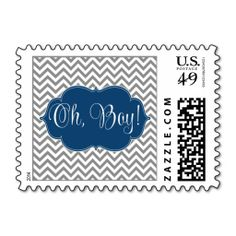 Modern Chevron Navy Blue Gray Boy Baby Shower Postage. This great stamp design is available for customization or ready to buy as is. Of course, it can be sent through standard U.S. Mail. Just click the image to make your own!