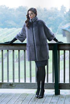 Blue Iris Mink Fur Coat