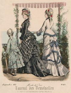 September fashions, 1875 France, Journal des Demoiselles et Petit Courrier des Dames Réunis from oldrags.tumblr.com