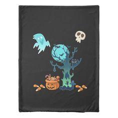 Halloween Spooky Creepy Ghosts Bats Skulls & Candy Duvet Cover
