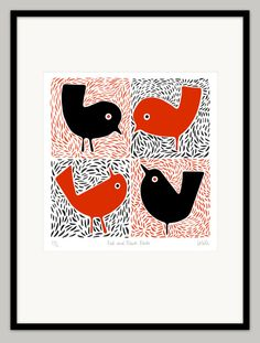 Red and Black Birds by locole on Etsy, $100.00