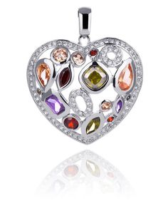 Our heart skips a beat when we look at this Sparkling Kagi Jewellery Rhodium Plated Brass Large Love Burst Multi Coloured Cubic Zirconia Set Pendant - does yours?http://bit.ly/1hDnssP — at My Jewellery Shop