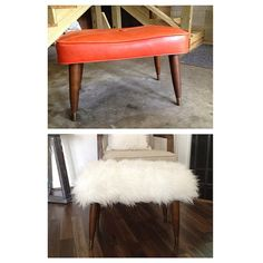 When we spotted Katie O'Neal's of her amazing before and after fluffy sheepskin stool, we couldn't wait to find out how she did it. Upcycled Furniture, Unique Furniture, Furniture Projects, Furniture Makeover, Home Furniture, Stool Makeover, Diy Projects, Sheepskin Stool, Sheepskin Throw