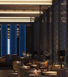 SCDA Hotel & Mixed-Use Development, Nanjing, China- Jazz Bar - Hotels Decoration Lounge Design, Design Hotel, Design Café, Lobby Design, Hotel Lounge, Bar Lounge, Lobby Lounge, Lobby Interior, Interior Desing