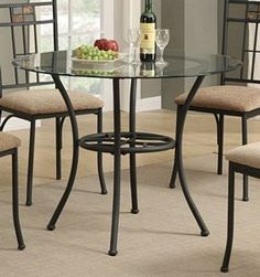 The beauty of round glass dining table set comes in many different designs, ranging from hot and more traditional oval varieties to the most contemporary Cheap Dining Room Sets, Glass Round Dining Table, Dining Table Chairs, Round Glass, Large Home Office Furniture, Lounge, Sofa, Inspiration, America
