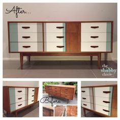 Mid century modern / retro modern Parker Chiswell buffet. Chalk painted with white, duck egg, graphite and grey.