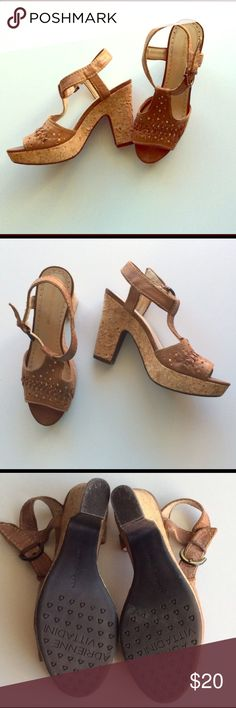 Adrienne Vittadini platform boho sandals! These are a reposh, in excellent condition. Gently used by original seller, not worn by me. Genuine light brown leather and cork heel/platform. I just have such darn skinny ankles, and didn't want to poke a new buckle hole. They have that 70's boho vibe! Adrienne Vittadini Shoes Platforms