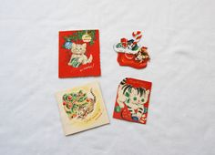 Four cat themed vintage Christmas cards by HappyCloudImports, $4.00