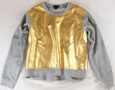 "165.50$  Watch here - http://vixhb.justgood.pw/vig/item.php?t=e16i5a253 - ~~~ BASIC, WITH A TWIST! ~~ J CREW GRAY ""METALLIC GOLD INSET"" SWEATSHIRT/TOP ~ S 165.50$"