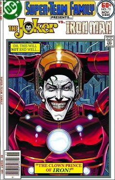 The Joker vs Iron Man - Marvel x DC Comics Crossover Comic Book Characters, Comic Character, Comic Books Art, Comic Art, Book Art, Crossover, Nerd, Batman Comics, Batman Art