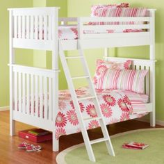 Pink and green! With a girly bunk bed that converts into twin beds. PERFECT! Just add an ombre dresser and we are set