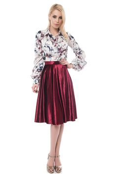 Velvet Skirt, Red Velvet, Floral Print Shirt, Floral Prints, Printed Shirts, Skater Skirt, Wine, Skirts, Sleeves