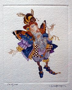 Faerie With a Bee in His Bonnet Etching by James Christensen