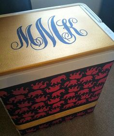 Lilly Pulitzer tusk in sun print on sorority cooler and monogram! So cute!