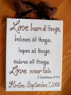 Custom Canvas Sign Wedding Bible Verse by dreamcustomartwork, $30.00