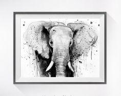 Impresión de la acuarela de cabeza de elefante arte por SlaviART