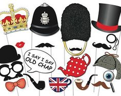 cool British Photo booth Party Props Set - 20 Piece PRINTABLE - English, Royal Wedding PhotoBooth Props, instant downloadby http://dezdemoon-cooking.gdn