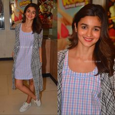 Alia Bhatt for #UdtaPunjab Promotions 1: Alia Bhatt did radio interviews few days back to promote her film 'Udta Punjab'. She worked a print on print look with a checkered shift dress and contrast cape by Aniket Satam. She flaunted her freshly chopped hair and rounded out her look with white sneakers.