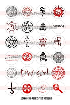 Supernatural Symbols 20mm Package by fenixfiredesigns on Etsy