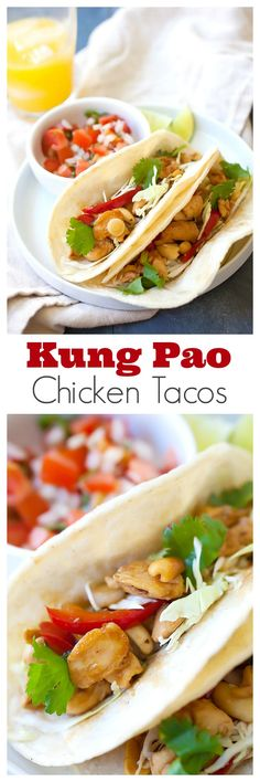 Kung Pao Chicken Tacos - amazing tacos with Chinese Kung Pao Chicken. Savory and slightly spicy chicken and roasted peanuts make the tacos so delicious   rasamalaysia.com