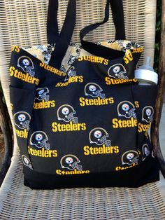 Pittsburgh Steelers Diaper Bag, Daddy Diaper Bag, Custom Tote Bag Purse Shopping Bag, lined, web straps, picnic, sports, School Book Bag by designsbyfancyrose on Etsy