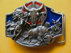 NATIVE INDIAN BUFFALO BOW ARROW HUNT PEWTER BELT BUCKLE