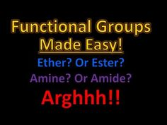 Organic Chemistry Functional Groups Made Easy and Memorizable! This video is long, but is really helpful in giving more tips for remembering functional groups. Any sample exam question could ask what is the name of the functional group given from this video. -Stephanie Kuehn