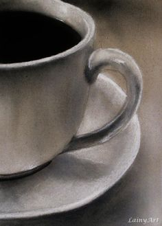 Day 258 - Nothing like a good cup of coffee to fuel creativity! Created with charcoal and chalk in about 2 hours. If you love this and would like to support my 366 project for charity, you can purchase this card here: https://www.etsy.com/listing/109567320/coffee-cup-tea-cup-aceo-charcoal-drawing
