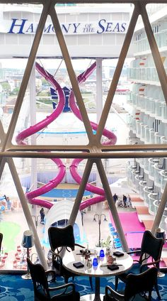 Harmony of the Seas   Dine with a view of the heralded Ultimate Abyss, where you can plummet 10 stories into to the mysteries of the deep on the tallest slide at sea.