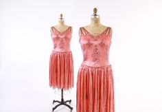 Vintage 20s BEADED DRESS / 1920s Salmon Pink Silk by LuckyDryGoods