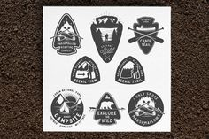 Vintage camping and hiking badges by 1baranov on Creative Market