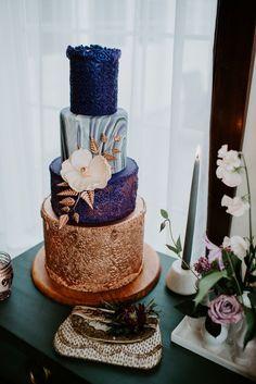 Modern gold and purple wedding cake