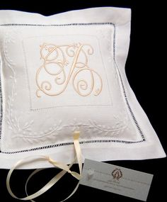 White Linen Hemstitched Wedding Ring Pillow or Child/'s Tooth Pillow