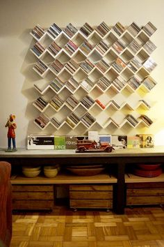 38 Best Insanely Book-Shelves Ideas Are The Easiest Way To Awesome Your Library - Elevatedroom Creative Bookshelves, Wall Bookshelves, Bookshelf Design, Book Shelves, Cd Shelf, Dvd Storage Shelves, Library Shelves, Wall Storage, Bookcases