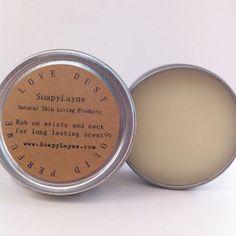 solid perfume, LOVE DUST- essential oils of bergamot, clove & nutmeg from SoapyLane, etsy