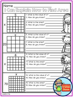 3.MD.C.7b - This worksheet asks your students to tell you HOW they know how to find area and missing side lengths.  What a great way to get ready for fourth grade!    40 pages total for only $5!  May spring and summer third grade math and literacy common core aligned NO PREP printable packet