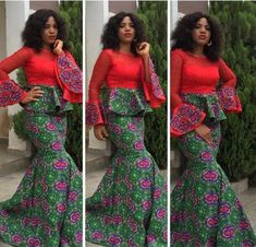 New Ankara Skirt and Blouse Style For Wedding Ceremonies. Ankara skirts and blouses can be the perfe African Dresses For Women, African Print Dresses, African Attire, African Fashion Dresses, African Wear, African Women, Ankara Fashion, African Prints, Nigerian Fashion