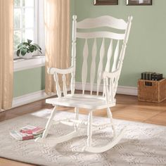 Monarch Antique White Embossed Back Solid Wood Rocking Chair   Indoor  Rocking Chairs At Hayneedle