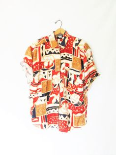 Vintage 1990s MARNIE WEST Silk Geo Short Sleeve Floral Graphic Button Down Sz L