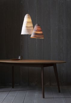 Beata light by Pinch Design A layered light, available in 2 natural tones, that develops intensity of colour when the light is illuminated.