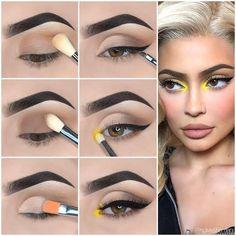 Eye Makeup Steps, Makeup Eye Looks, Simple Eye Makeup, Natural Eye Makeup, Eyebrow Makeup, Eyeshadow Makeup, Makeup Tips, Yellow Eye Makeup, Yellow Eyeshadow